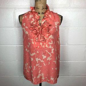 J. Crew silk ruffle neck sleeveless top size 12